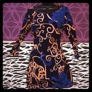 Tibi Navy blue swirl shift sheath dress -sz M